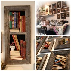 Recycled Old Books #Books, #Frame, #Light, #Recycled