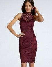 Lipsy High Neck Baroque Lace Dress