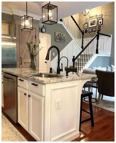 Looking for for images for farmhouse kitchen? Browse around this website for cool farmhouse kitchen pictures. This amazing farmhouse kitchen ideas appears to be completely brilliant. Kitchen Redo, New Kitchen, Kitchen Dining, Kitchen Ideas, Kitchen Counters, Kitchen Sinks, Kitchen Black, Island Kitchen, Gray Kitchen Walls