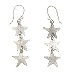 Three Star Silver Earrings ($17) ❤ liked on Polyvore featuring jewelry, earrings, accessories, brincos, jewels, silver star earrings, party jewelry, silver earrings, silver jewelry and drop earrings