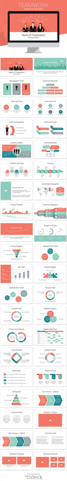 Teamwork PowerPoint template in flat design style with 40 pre-designed slides…