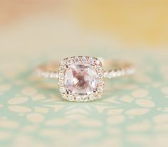 Certified Peach Pink Cushion Sapphire Diamond Halo Engagement Ring 14K Rose Gold. $1,020.00, via Etsy