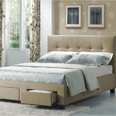 Emerald Tan Linen Platform Upholstered Bed Set - Overstock™ Shopping - Great Deals on Beds