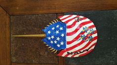 Go Navy Blue Angels on horseshoe crab Go Navy, Navy Blue, Crab Art, Horseshoe Crab, Blue Angels, Shell Art, Crabs, Stained Glass, Backyard