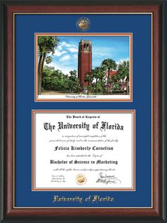 University of Florida Diploma Frame - UF Gators - with hardwood moulding and unique campus watercolor.  Also features blue on orange mats, official UF seal and school name embossing, along with UV glass to protect your investment from fading over time.  And to keep those memories as alive as the day you earned them! Go Gators!