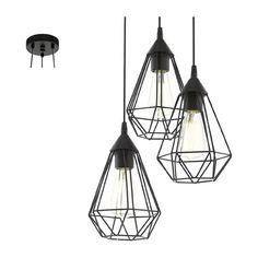 EGLO hanglamp Tarbes - 3 lichts - mat zwart