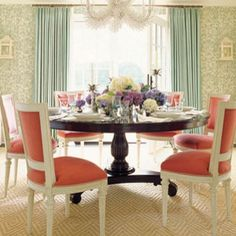 """Formal """"new preppy"""" dinning room. 