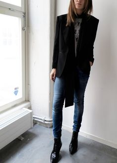 Black, jeans, boots