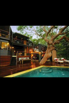 Wooden deck with a pool