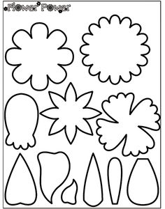 Crayola coloring page pattern for felt creations. Large flower parts.