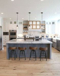 Modern Kitchen Interior Remodeling 20 Cool Modern Farmhouse Kitchen Backsplash Ideas - Trendecora - One part of the kitchen that takes a lot of punishment is the kitchen backsplash - it protects your kitchen […] Kitchen Island With Sink, Farmhouse Kitchen Island, Modern Farmhouse Kitchens, Home Kitchens, Country Farmhouse, Vintage Farmhouse, Kitchen Modern, Kitchen Rustic, Kitchen Islands