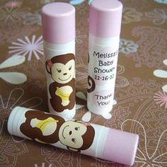 Monkey Girl Personalized Lip Balm Sticks, Unique Baby Shower Favors - ABC Favors