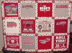 Love the t-shirt quilt idea! Not Alabama, sorry Jemerson! Alabama Crimson Tide, Crimson Tide Football, Alabama Football, Auburn Alabama, Alabama Decor, Sweet Home Alabama, Alabama Room, Alabama Crafts, Alabama Quilt