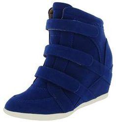 Blue Suede Wedge Trainers. Hidden Heels. Concealed Heel Trainers