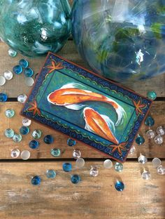 Hand Painted, Koi Fish Box, Jewelry, Trinkets, One of a kind, lined with fabric