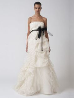 A-Line Strapless Bridal Gown with Elegant Pleats and Special Craftwork Tulle Dress
