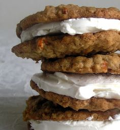 Carrot Cake Cookie Sandwiches.... delicious! simple to make like oatmeal-raisin and tastes just like like carrot cake