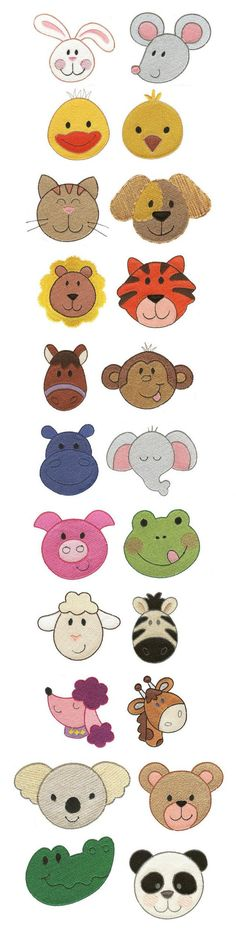 Itty Bitty Animal Faces embroidery design set available for instant download at www.designsbyjuju.com