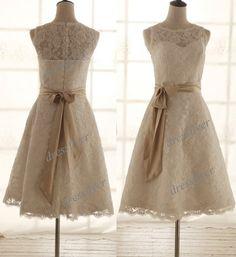 Lace Aline Wedding Dress Custom Short Ivory / White by DressFlyer, $130.00