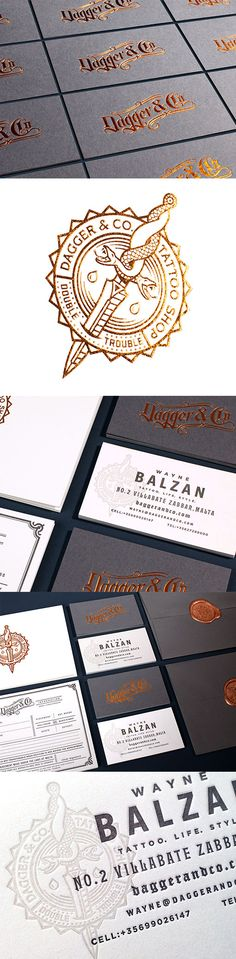 Modern Foil Stamped Business Card With Vintage Styling For A Tattoo Artist