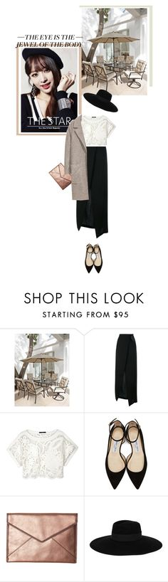 """""""#Hani #EXID"""" by devaresti ❤ liked on Polyvore featuring Ann Demeulemeester, TIBI, Jimmy Choo, Rebecca Minkoff, Maison Michel, outfits, rosegold and hani"""