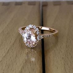 Oval Pink Peach Morganite Halo Engagement Ring by GalaxyDiamonds