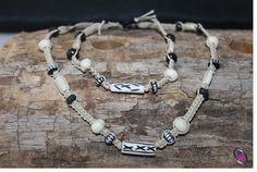 White patterned wood beads macrame bracelet & necklace set (Mens)