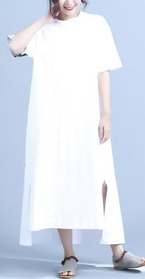 Style white clothes For Women side open Casual Summer Half Sleeve Letter Printed DressCustom make service available! Please feel free to contact us if you want this dress custom made. Materials used:Cotton Measurement: White Linen Dresses, Cotton Dresses, Summer Maxi, Casual Summer, Women's Fashion Dresses, Casual Dresses, White Outfits, Dress Patterns, Kitchen Decor
