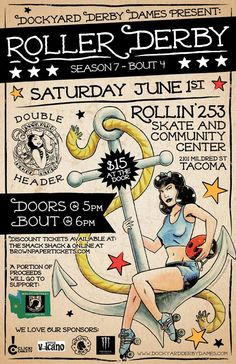 June 1st, 2013 Double Header Bout, Dockyard Derby Dames Sailor Jerry Themed Bout Poster // Roller Derby