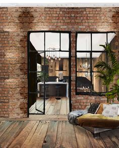 sketch of the kitchen and living room Industrial feeling by bringing all the old materials back to life by restoring them. 3d Sketch, Interior Design Sketches, Living Room Interior, Decoration, Old Things, Industrial, Patio, Outdoor Decor, Kitchen