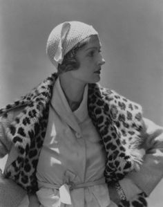 Mme. E.D.Exner wearing a suede gilet blouse and coat trimmed with leopard skin by Elsa Schiaparelli, 1931