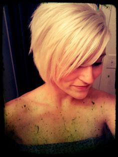 Short Blonde Hair. Asymmetrical cut.