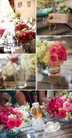 Pretty Garden Baby Shower. Drink display, table setting.