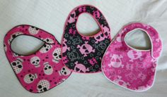 Pink and Black Hearts and Skulls Baby Bibs by MommysLittleRockStar cfbacfefcc346