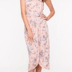 Everly Dresses - Pink Floral draped midi peach dress S/M/L avail