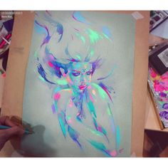 Pastel, watercolor, colored pencils and marker on A3 canson paper Lux.EdicionesBabylon.es #pencil #watercolor #marker #traditional #art #martanael #marta nael #color #light #sketch #painting