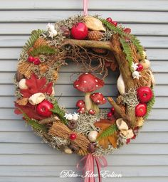 """Autumn door wreath """"Toadstool Family"""" from Deko Fall Swags, Holiday Wreaths, Fall Arts And Crafts, Diy And Crafts, Diy Wreath, Door Wreaths, Mushroom Decor, Summer Wreath, Fall Decor"""
