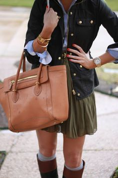 boots + socks + belted skirt + oxford