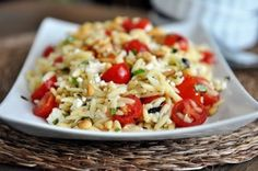 Orzo Salad with Tomatoes, Basil and Feta. I switched out the feta with fresh mozzarella and added edamame. Beautiful salad and very tasty