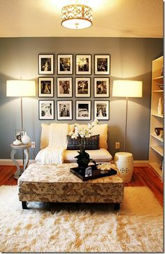 Affordable wall decor - buy inexpensive frames and make a collage on the wall. I like the floor lamps as bedside lamps too. :)