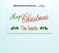 """Printed Wood Christmas Sign with Last Name And Quote """" Merry Christmas """" Customized Christmas Wall Plaque for Home Decor"""