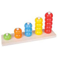 Bigjigs Toys Count and Stack Wooden Educational Toy Numbers Preschool, Learning Numbers, Wooden Educational Toys, Color Ring, Game Pieces, Toys Shop, Fine Motor Skills, Early Learning, Rubber Duck