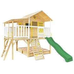 Lifespan Kids Warrigal Cubby House set with Pergola Extension- Green Slide Cubby Houses, Play Houses, Double Casement Windows, Window Well, Backyard Buildings, Sand Pit, Queenslander, Play Centre, Houses