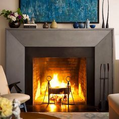 Love the splashes of colour on fireplace