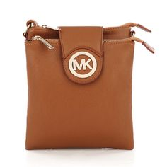 $66 Michael Kors Fulton Pebbled Large Brown Crossbody Bags on sale.