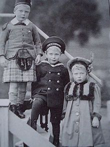 Three of King George V's children: Princess Mary (his only daughter), Prince Albert (George VI) and Prince Edward (Edward VIII).