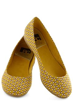 A Night to Remember Flat in Butterflies by BC Shoes - Yellow, White, Flat, Print with Animals, Casual