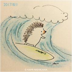 1242 サーフィン surfing Hedgehog Drawing, Hedgehog Art, Cute Hedgehog, Cartoon Sketches, Animal Sketches, Art Sketches, Hedgehog Illustration, Illustration Art, Creation Art