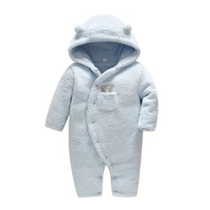 Unisex Baby Hooded Warm Lamb Cashmere Jumpsuit For Winter