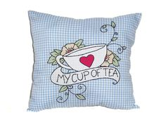 Appliqué Pillow with Tattoo Style Teacup Embroidery